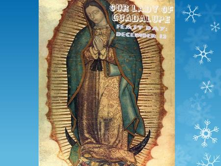 Our Lady of Guadalupe The Events  Who: Juan Diego & Mary  What: Miraculous image of Mary  When: December 1531  Where: Mexico – though some say Spain.