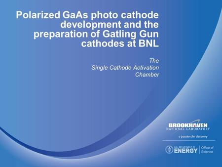 Polarized GaAs photo cathode development and the preparation of Gatling Gun cathodes at BNL The Single Cathode Activation Chamber.