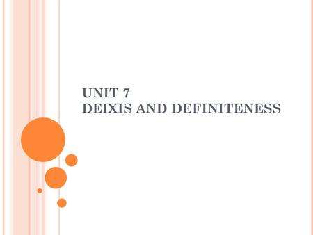 UNIT 7 DEIXIS AND DEFINITENESS. D EFINITION A DEICTIC word is one which takes some element of its meaning from the context or situation (i.e. the speaker,
