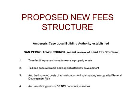 PROPOSED NEW FEES STRUCTURE Ambergris Caye Local Building Authority established SAN PEDRO TOWN COUNCIL recent review of Land Tax Structure 1.To reflect.
