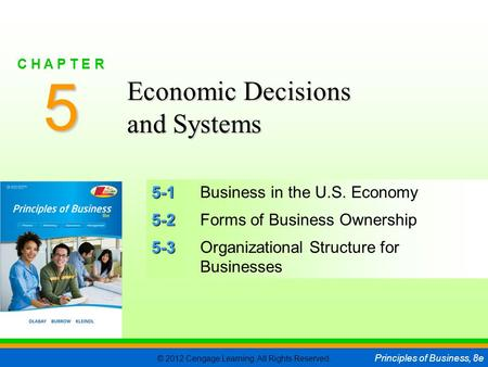 © 2012 Cengage Learning. All Rights Reserved. Principles of Business, 8e C H A P T E R 5 SLIDE 1 5-1 5-1Business in the U.S. Economy 5-2 5-2Forms of Business.