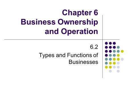 Chapter 6 Business Ownership and Operation