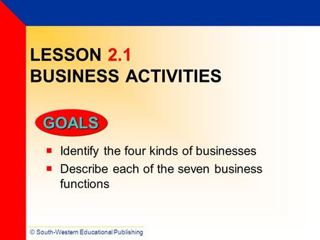© South-Western Educational Publishing GOALS LESSON 2.1 BUSINESS ACTIVITIES  Identify the four kinds of businesses  Describe each of the seven business.
