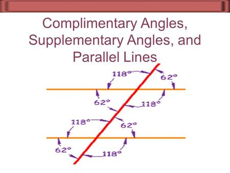 Complimentary Angles, Supplementary Angles, and Parallel Lines.