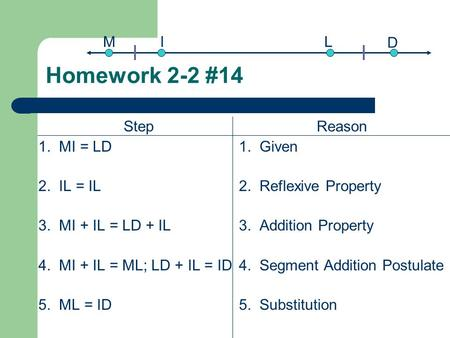 Homework 2-2 #14 Step 1. MI = LD 2. IL = IL 3. MI + IL = LD + IL 4. MI + IL = ML; LD + IL = ID 5. ML = ID Reason 1. Given 2. Reflexive Property 3. Addition.
