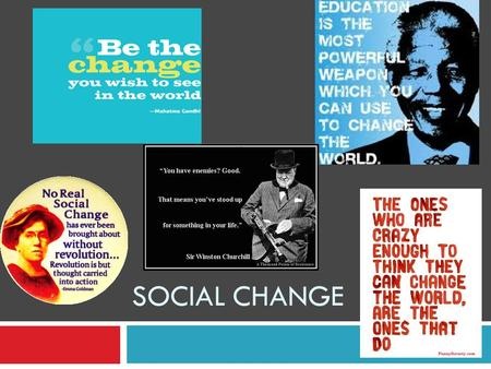 SOCIAL CHANGE. Social Change  Alterations in various aspects of a society over time  Values, norms, traditions, religion, etc Cyclical Theory Evolutionary.