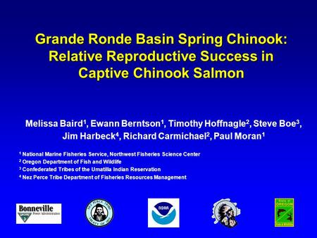 Grande Ronde Basin Spring Chinook: Relative Reproductive Success in Captive Chinook Salmon Melissa Baird 1, Ewann Berntson 1, Timothy Hoffnagle 2, Steve.