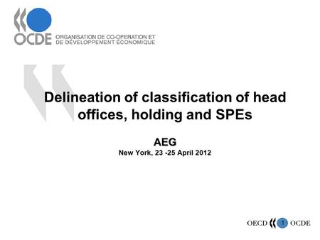 1 AEG New York, 23 -25 April 2012 Delineation of classification of head offices, holding and SPEs AEG New York, 23 -25 April 2012.