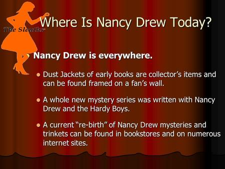 Nancy Drew is everywhere. Nancy Drew is everywhere. Dust Jackets of early books are collector's items and can be found framed on a fan's wall. Dust Jackets.