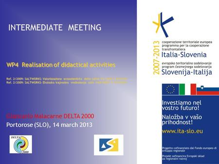 INTERMEDIATE MEETING WP4 Realisation of didactical activities Ref. 2/2009: SALTWORKS– Valorizzazione ecosostenibile delle saline tra Italia e Slovenia.