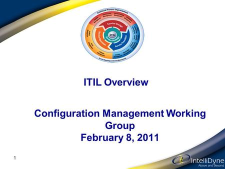 ITIL Overview 1 Configuration Management Working Group February 8, 2011.