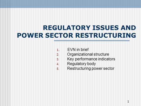 1 REGULATORY ISSUES AND POWER SECTOR RESTRUCTURING 1. EVN in brief 2. Organizational structure 3. Key performance indicators 4. Regulatory body 5. Restructuring.