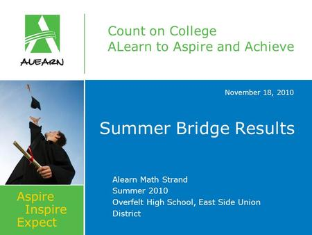 Count on College ALearn to Aspire and Achieve Aspire Inspire Expect November 18, 2010 Summer Bridge Results Alearn Math Strand Summer 2010 Overfelt High.