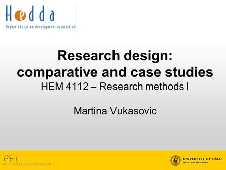 Overview of session Case studies Comparative studies
