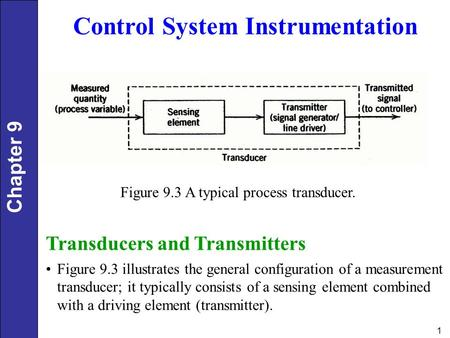 Chapter 9 1 Control System Instrumentation Figure 9.3 A typical process transducer. Transducers and Transmitters Figure 9.3 illustrates the general configuration.