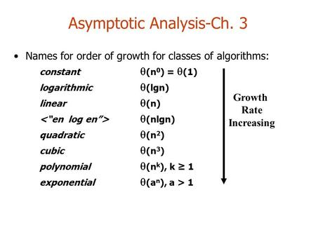 Asymptotic Analysis-Ch. 3