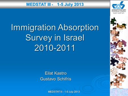 MEDSTAT III - 1-5 July 2013 Immigration Absorption Survey in Israel 2010-2011 Eilat Kastro Gustavo Schifris MEDSTAT III - 1-5 July 2013 MEDSTAT III - 1-5.