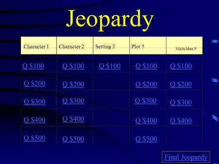 Jeopardy Character 1Character 2Setting 3Plot 5 Main Idea 5 Q $100 Q $200 Q $300 Q $400 Q $500 Q $100 Q $200 Q $300 Q $400 Q $500 Final Jeopardy.
