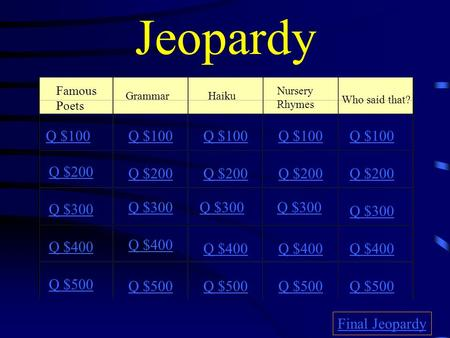 Jeopardy Famous Poets GrammarHaiku Nursery Rhymes Who said that? Q $100 Q $200 Q $300 Q $400 Q $500 Q $100 Q $200 Q $300 Q $400 Q $500 Final Jeopardy.