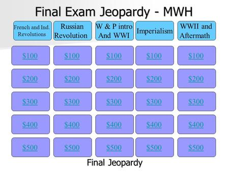 Final Exam Jeopardy - MWH $100 French and Ind. Revolutions Russian Revolution W & P intro And WWI Imperialism WWII and Aftermath $200$300$400$500 $400$300$200$100$500$400$300$200$100$500$400$300$200$100$500$400$300$200$100.
