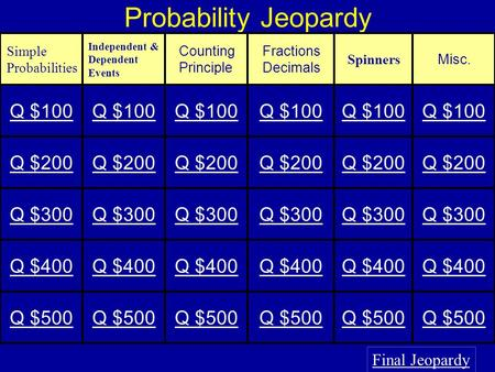 Probability Jeopardy Final Jeopardy Simple Probabilities Independent & Dependent Events Counting Principle Fractions Decimals Spinners Misc. Q $100 Q.