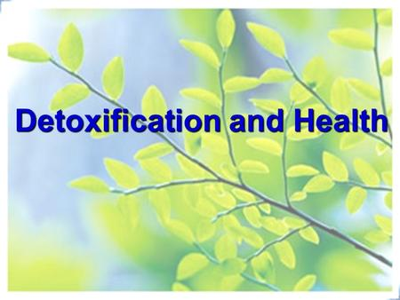 Detoxification and Health. Is falling ILL all that bad? - physiological alarm Illness and Wellness Wellness~ Balance of Yin & Yang ~ Long-term dynamic.
