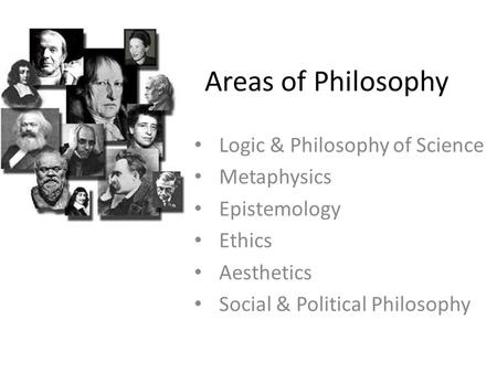 Areas of Philosophy Logic & Philosophy of Science Metaphysics