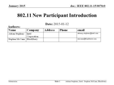 Doc.: IEEE 802.11-15/0070r0 Submission January 2015 Adrian Stephens, Intel : Stephen McCann, BlackberrySlide 1 802.11 New Participant Introduction Date: