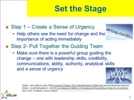 1 Set the Stage Step 1 – Create a Sense of Urgency Help others see the need for change and the importance of acting immediately Step 2- Pull Together the.