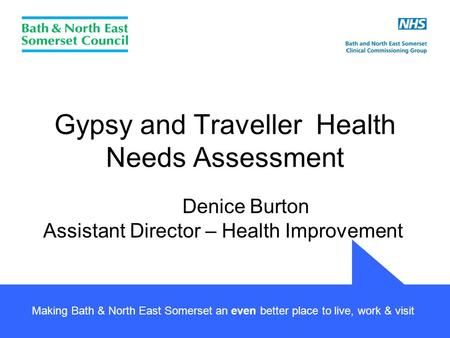 Making Bath & North East Somerset an even better place to live, work & visit Gypsy and Traveller Health Needs Assessment Denice Burton Assistant Director.