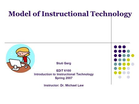 Model of Instructional Technology Stuti Garg EDIT 6100 Introduction to Instructional Technology Spring 2007 Instructor: Dr. Michael Law.