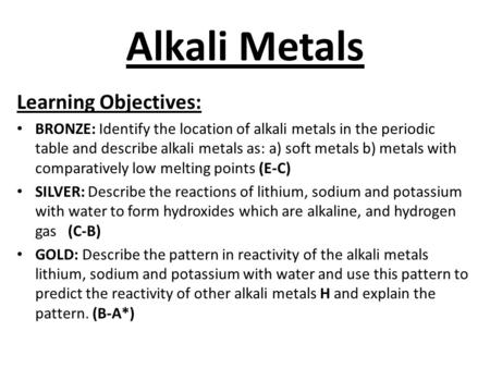 Alkali Metals Learning Objectives: BRONZE: Identify the location of alkali metals in the periodic table and describe alkali metals as: a) soft metals b)