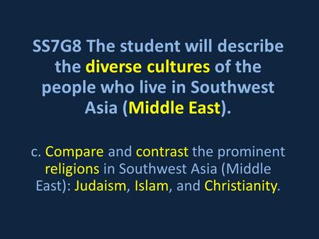 SS7G8 The student will describe the diverse cultures of the people who live in Southwest Asia (Middle East). c. Compare and contrast the prominent religions.