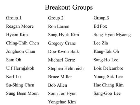 Breakout Groups Group 1 Reagan Moore Hyeon Kim Ching-Chih Chen Jonghoon Chun Sam Oh Ulf Hermjakob Karl Lo Su-Shing Chen Sung Been Moon Group 2 Ron Larsen.