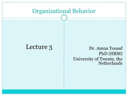 Organizational Behavior Lecture 3 Dr. Amna Yousaf PhD (HRM) University of Twente, the Netherlands.