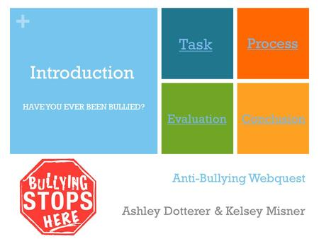 + Anti-Bullying Webquest Ashley Dotterer & Kelsey Misner Introduction Task Process EvaluationConclusion HAVE YOU EVER BEEN BULLIED?