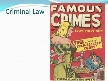 Criminal Law. Criminal law deals with the most serious kinds of harm that people can cause each other, or society. Although it is true that there are.