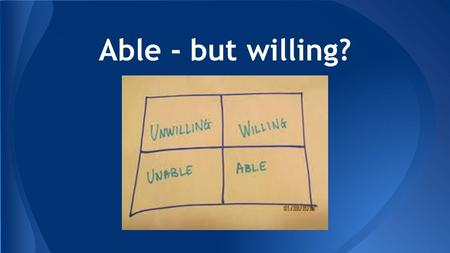 Able - but willing?. Luke 5:12:16 Able - but willing?