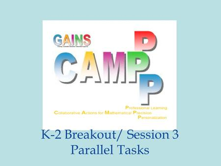 K-2 Breakout/ Session 3 Parallel Tasks. Minds-On TPS – choose one: 1. Show how you would share your grilled cheese sandwich with one other person, OR.