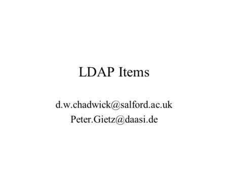 LDAP Items