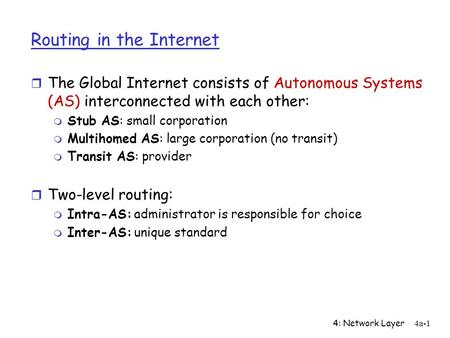 4: Network Layer4a-1 Routing in the Internet r The Global Internet consists of Autonomous Systems (AS) interconnected with each other: m Stub AS: small.