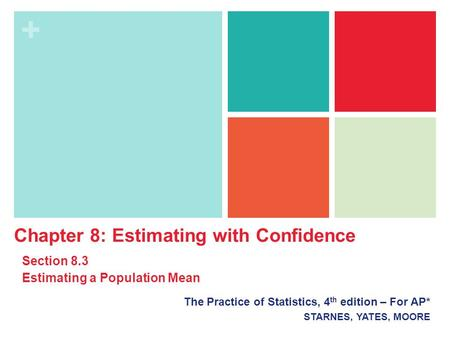 + The Practice of Statistics, 4 th edition – For AP* STARNES, YATES, MOORE Chapter 8: Estimating with Confidence Section 8.3 Estimating a Population Mean.