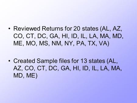 Reviewed Returns for 20 states (AL, AZ, CO, CT, DC, GA, HI, ID, IL, LA, MA, MD, ME, MO, MS, NM, NY, PA, TX, VA) Created Sample files for 13 states (AL,
