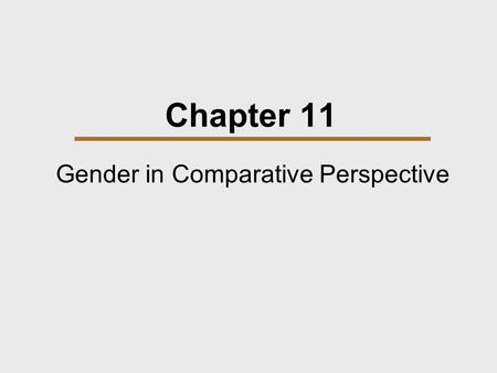 Gender in Comparative Perspective