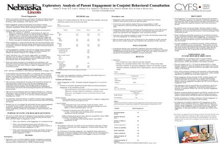 Exploratory Analysis of Parent Engagement in Conjoint Behavioral Consultation Kathryn E. Woods, M.A., Laura C. Mullaney, M.A., Kathleen A. Gill-Hraban,