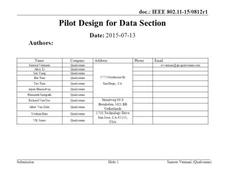 Doc.: IEEE 802.11-15/0812r1 Submission Pilot Design for Data Section Slide 1 Date: 2015-07-13 Authors: Sameer Vermani (Qualcomm) NameCompanyAddressPhoneEmail.
