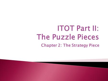 Chapter 2: The Strategy Piece.  All managers must start with the same four pieces: strategy, information technology, structure, and leadership.