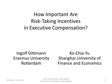 Dittmann, Yu (2010) How Important are Risk-Taking Incentives in Executive Compensation 1 How Important Are Risk-Taking Incentives in Executive Compensation?