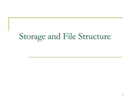 1 Storage and File Structure. 2 Classification of Physical Storage Media Speed with which data can be accessed Cost per unit of data Reliability  data.