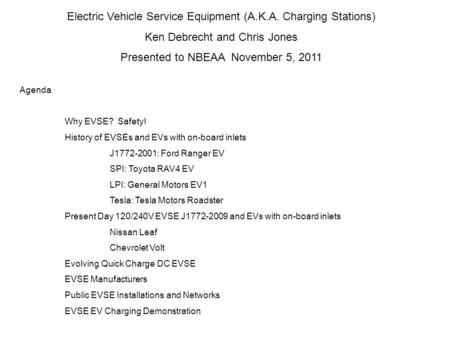 Electric Vehicle Service Equipment (A.K.A. Charging Stations)